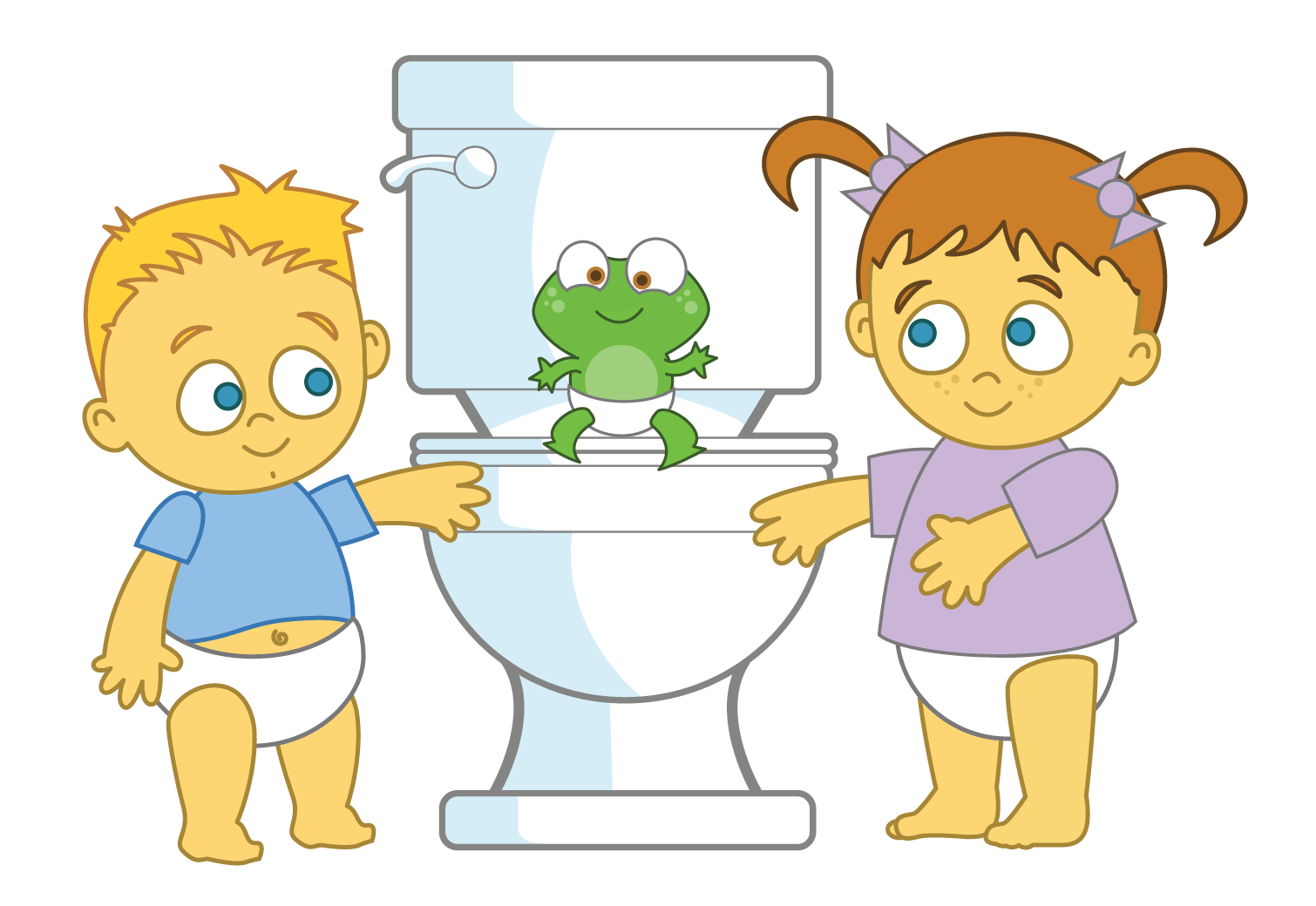 Potty Time characters, Alex, Leah and Hopkins