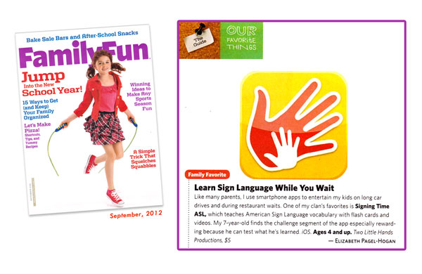 Family Magazine features Signing Time App